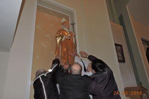 Umieszczenie figury Św. Jana Pawła II 24.03.16
